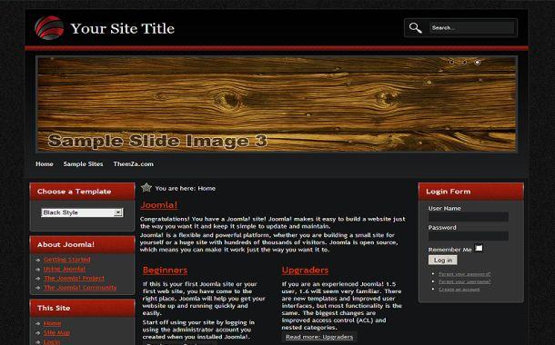 Red Black Wood Free Joomla 1.6 Theme Template