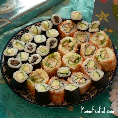 mermaid party food sushi
