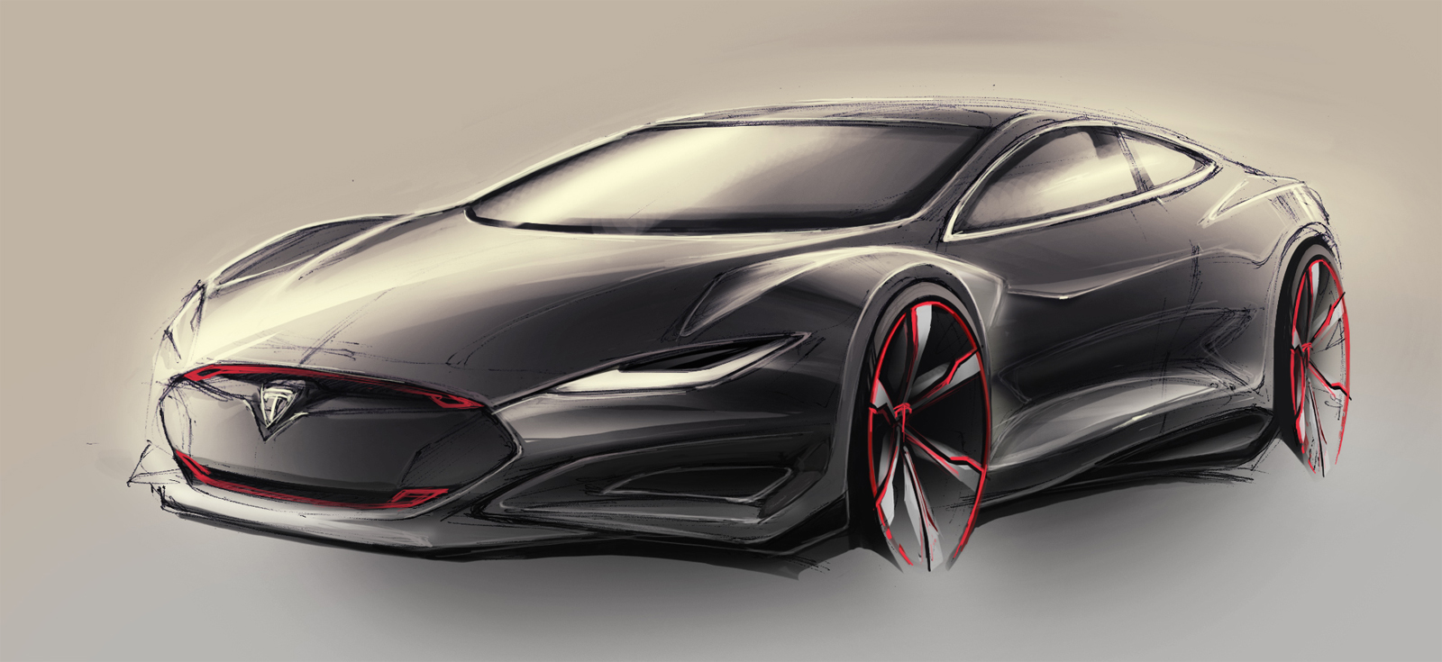 Design of tesla car -  Conservative Design For The Car Itself I Used A More Spacius Body Type Like A Sportback It May Not Be Everyone S Taste And Hopefully The Production