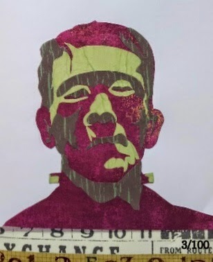 Whoopidooings:Carmen Wing - Collage Paper Pieces Frankenstein Portrait #100Facesin365 #Face #Frankie
