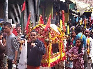 Fulpati yatra at Sukhiapokhri