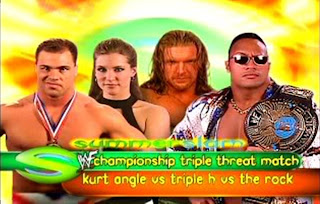 WWF SummerSlam 2000 Kurt Angle vs Triple H Stephanie McMahon vs The Rock WWF Championship