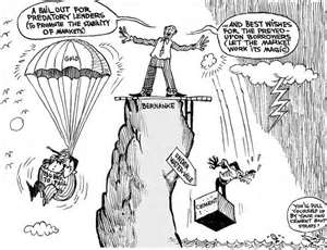 Bailout cartoon: Parachutes for banks; cement blocks for homeowners