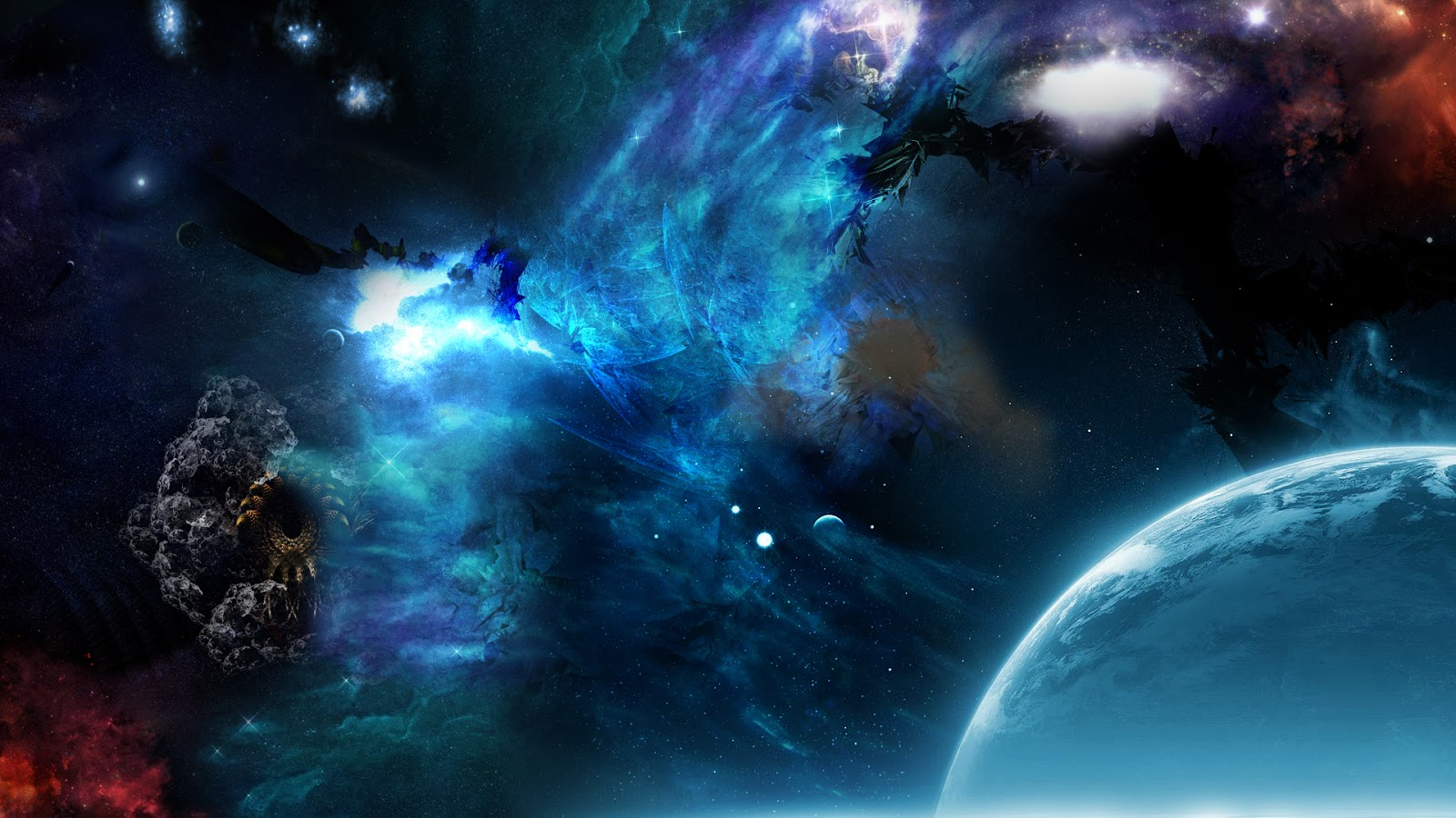 Blue Outer Space Wallpaper
