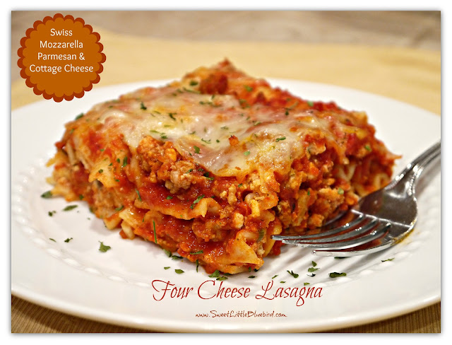 Today I am sharing another fami ly favorite, Four Cheese Lasagna...