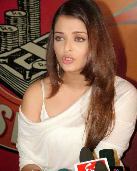 Aishwarya Rai Bollywood Heroins in Tight White Top Hot HD Wallpaper