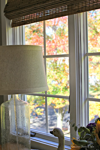 Seeded glass lamp in master bedroom via www.goldenboysandme.com