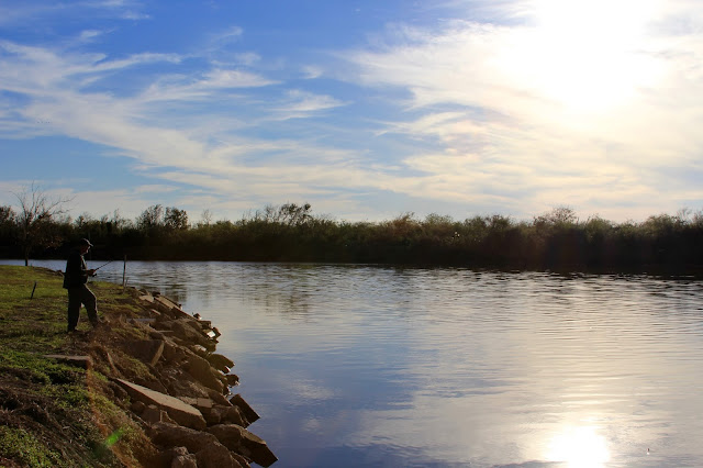 Fishing From the Banks of the Colorado River-Pelican Point RV Park-Matagorda, Texas