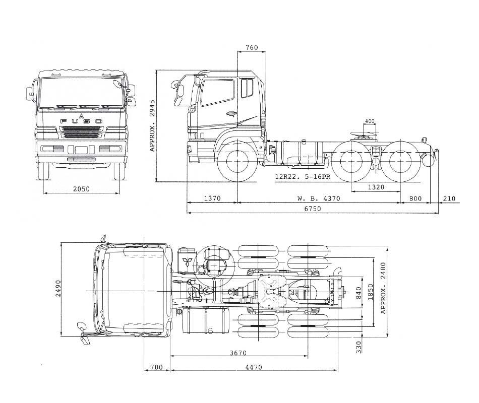 Dimensi Mitsubishi Tractor Head FV 51JH 6X4 380 PS Pekanbaru Riau