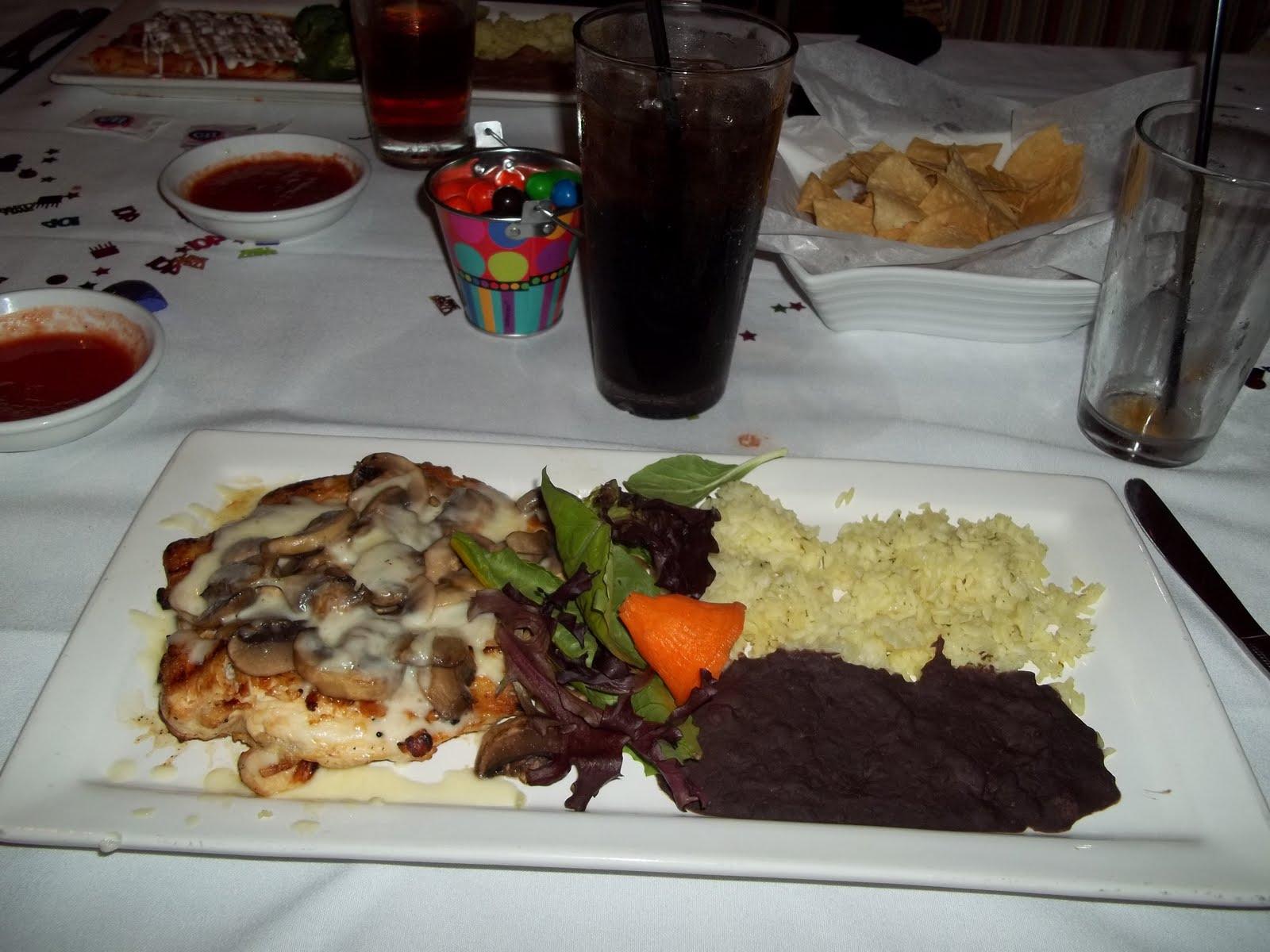 were 4 menu choices, Steak, Shrimp, Chicken, or Enchiladas. My dad ...