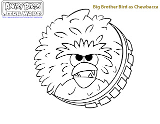 free printable angry birds Star wars coloring pages - Big brother as chewbacca