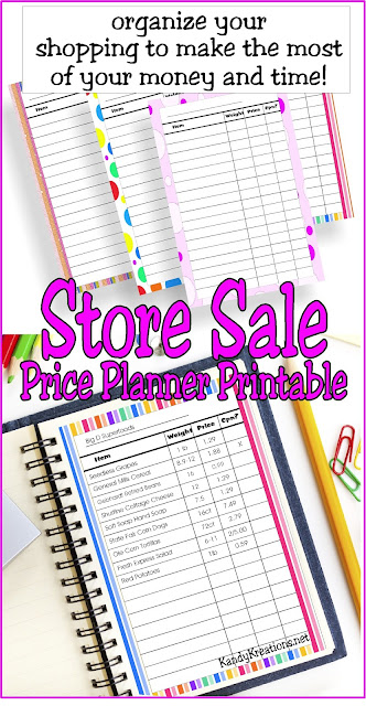 Organize your shopping to make the most of your money and time with this free printable. This store sale price planner page will help you know where the best prices are and when to buy all your necessities.