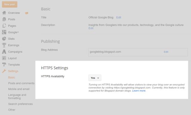 Cara Setting HTTPS untuk Blogspot/Blogger