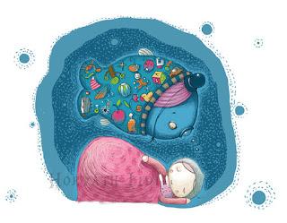 digitális grafika Photoshopban Wacom táblával készítve, a Ringató Alapítvány pályázatára, alvó baba álmait falja az álmodott hal