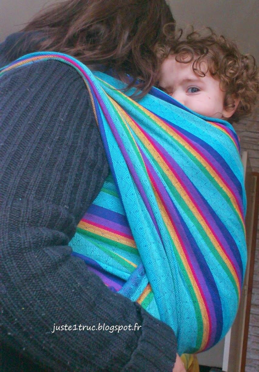 babywearing portage vanamo wrap écharpe review rainbow ruutu sateenkaari
