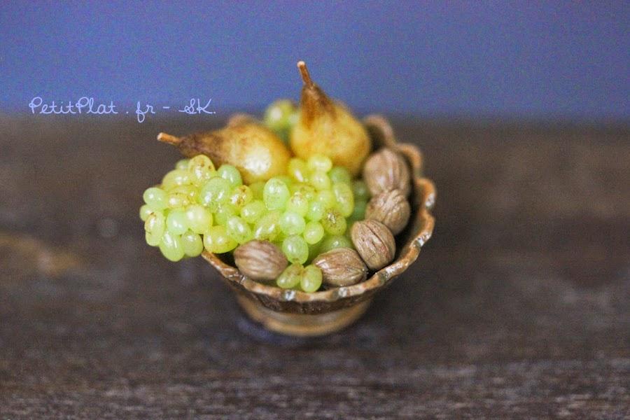 Fruit Bowl with Pears, Walnuts and Grapes - Miniature Food Art by Stephanie Kilgast, PetitPlat
