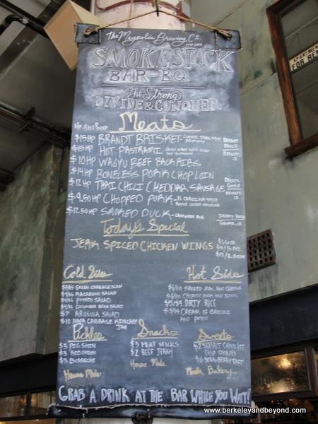 menu at Smokestack at Magnolia Brewing in San Francisco