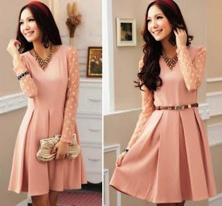 Contoh Dress Lengan Panjang Anak Remaja Pink