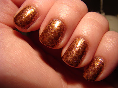 OPI DS Glow stamped with SH Coco-a-Go-Go Konad