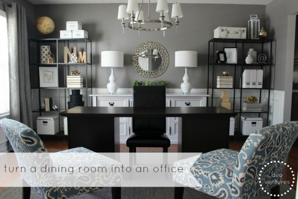 Duo ventures turning a dining room into an office part 2 for Dining room vs office