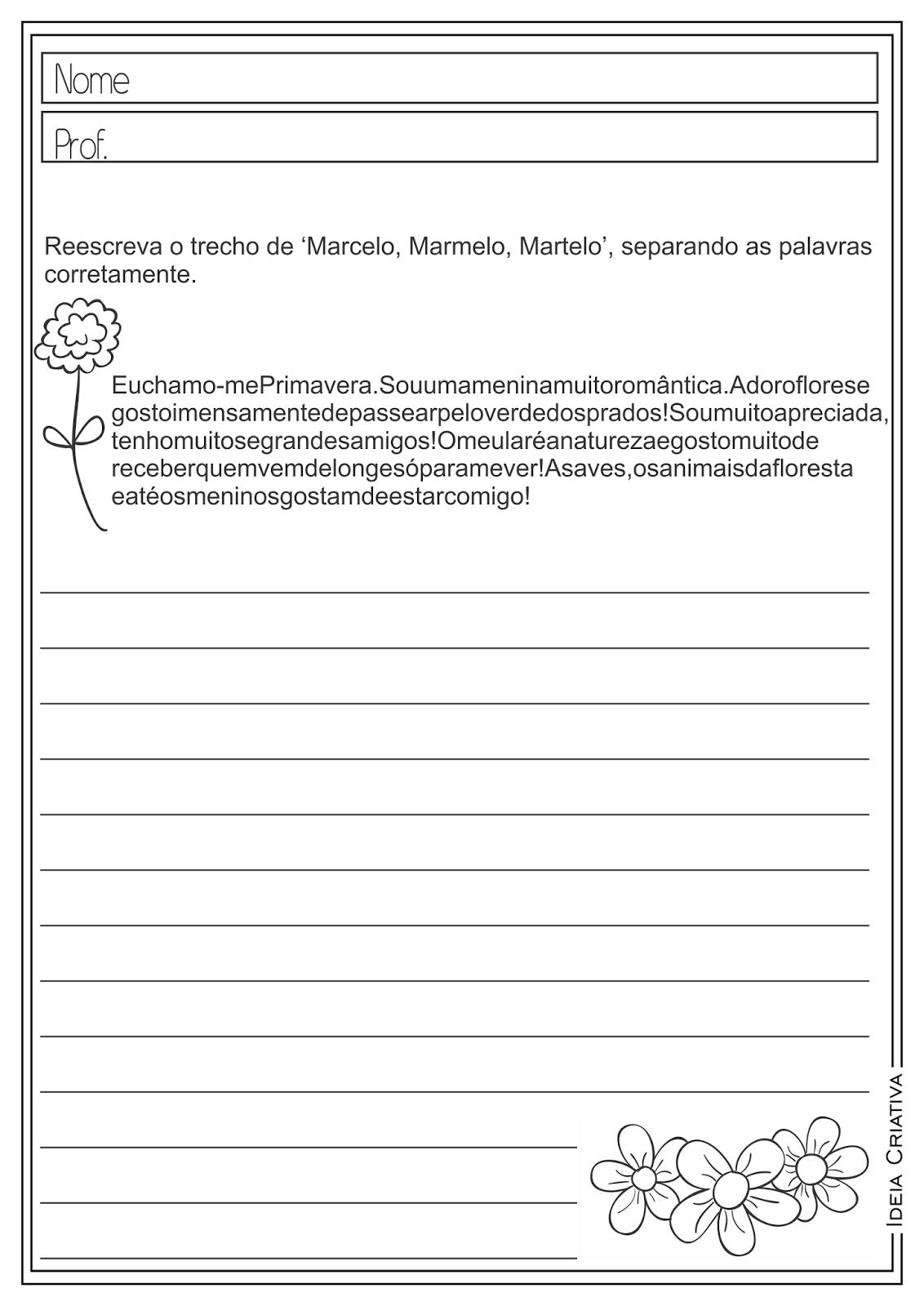 Atividades Educativas Texto Aglutinado Língua Portuguesa para Ensino Fundamental