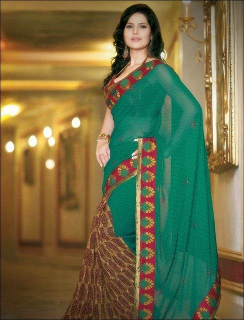 zarine khan in saree hot images