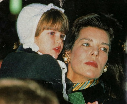 Princess Carolina of Monaco and daughter, Charlotte Casiraghi. Christmas 1990