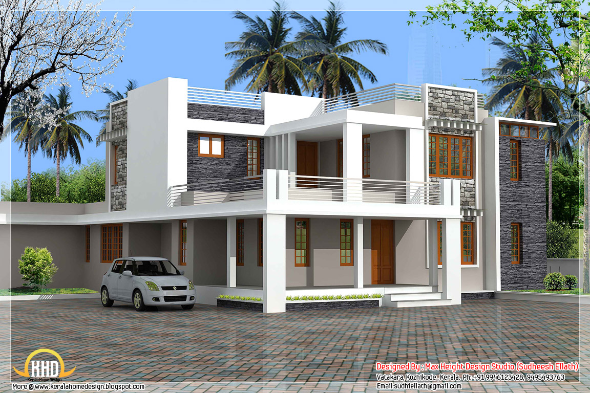 3532 square feet 5 bedroom contemporary Kerala villa design - May 2012