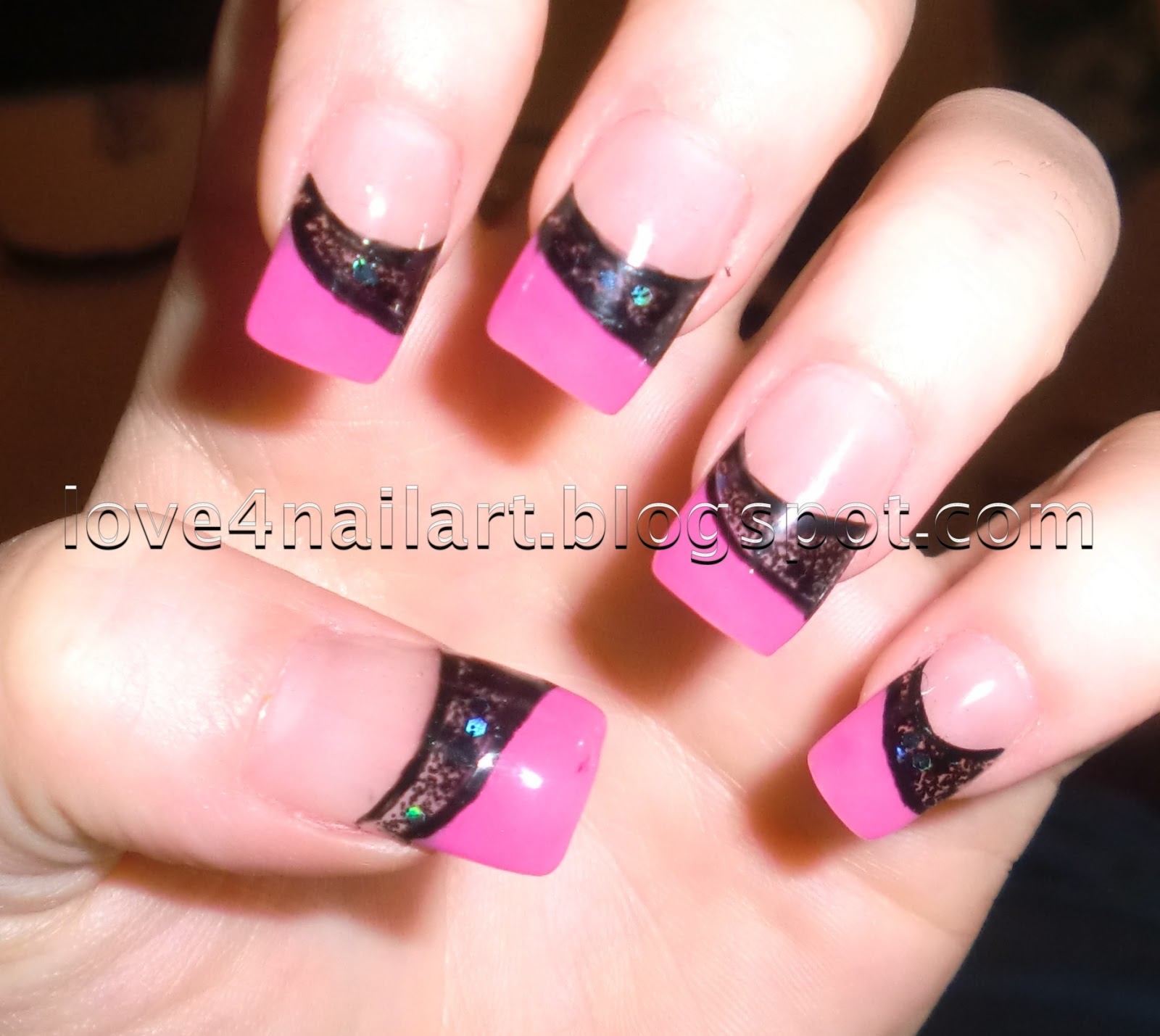 love4nailart pink amp black encapsulated colored acrylic nails