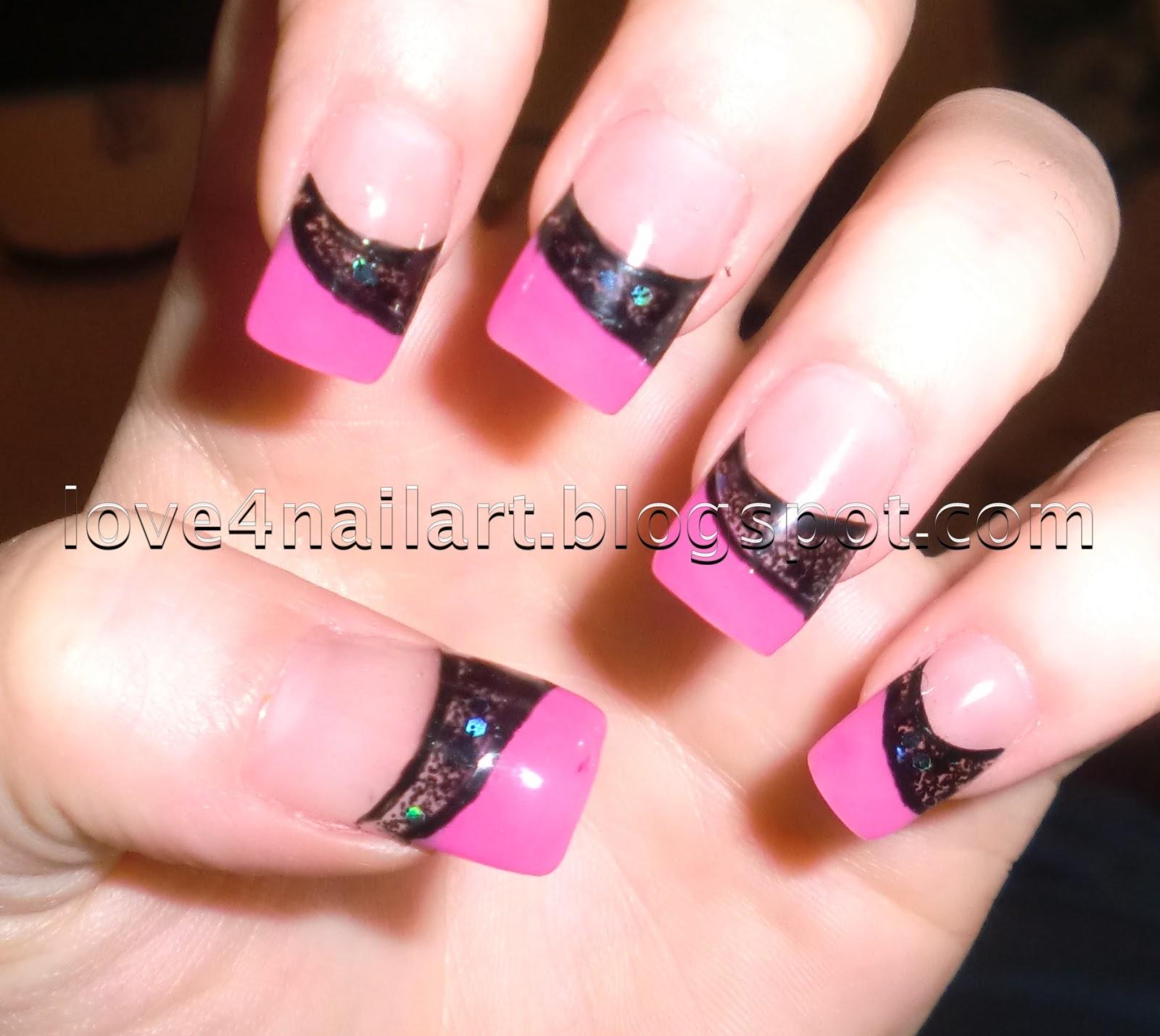 Pink Acrylic Nail Designs: Love4NailArt: Pink & Black Encapsulated Colored Acrylic Nails