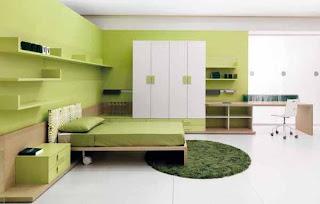 kamar minimalis hijau