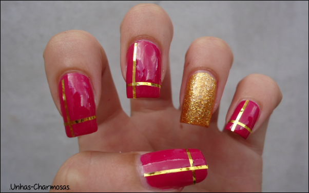 nail art natal, unhas para o natal, esmalte maçã Miss Rôse 017, esmalte Cleópatra Anita, nail art com fio de ouro, nail art, esmalte Miss Rôse, esmalte Anita
