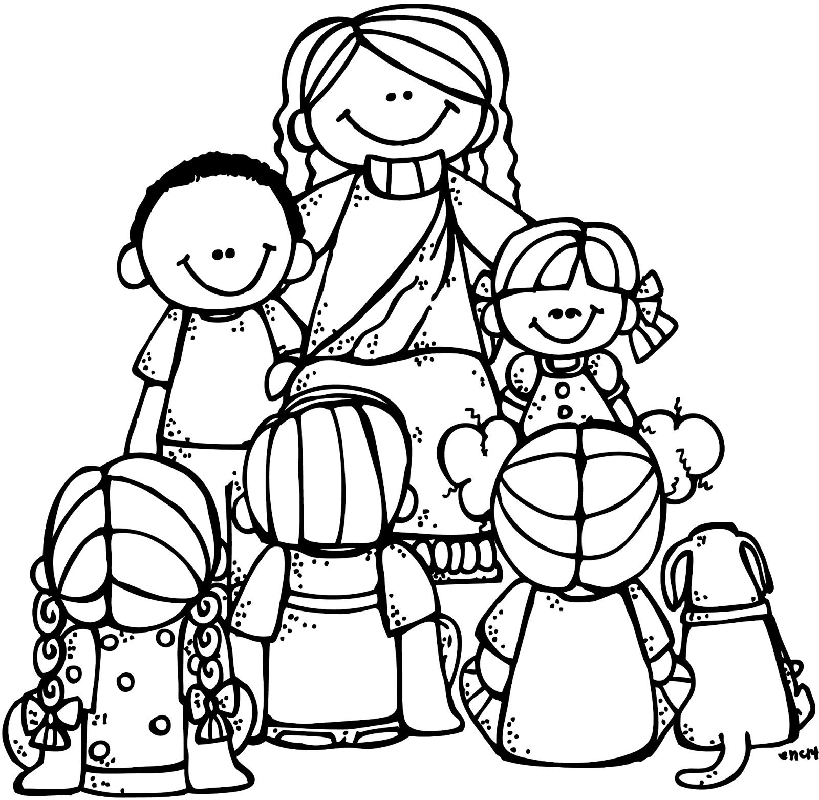 jesus and the children coloring page - melonheadz lds illustrating general conference goodies