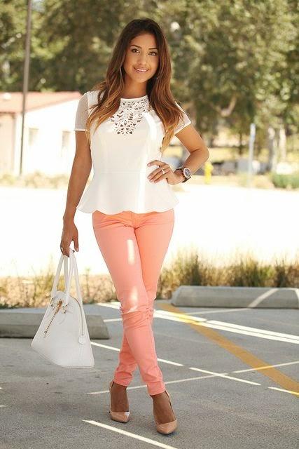 Peach pants and cute blouse