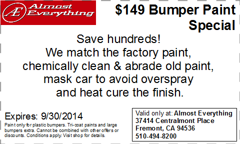 Discount Coupon Almost Everything $149 Bumper Paint Sale Septemter 2014
