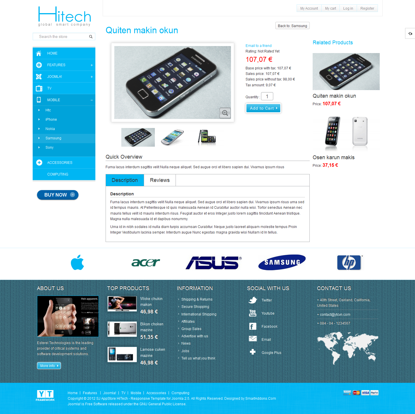 hitech joomla template for ecommerce premium responsive templates