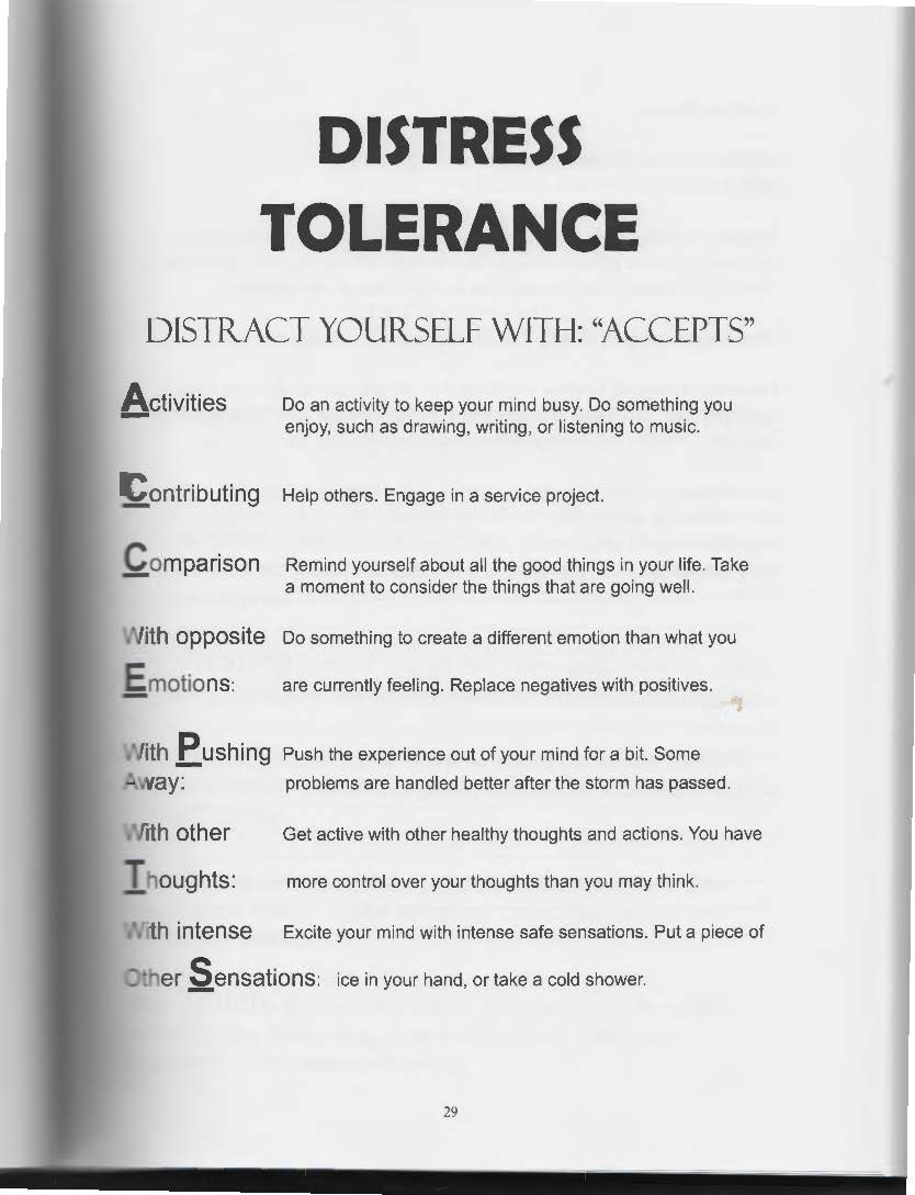 The Art of Dialectical Behavior Therapy Distress Tolerance – Dbt Therapy Worksheets