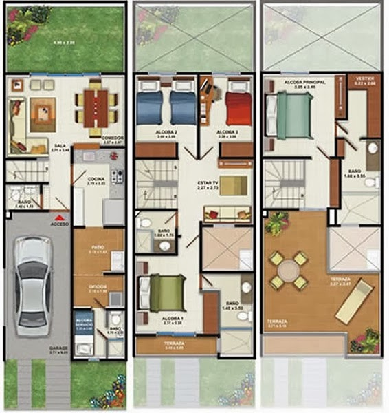 Drawings of a 160m2 house of three floors and four bedrooms.