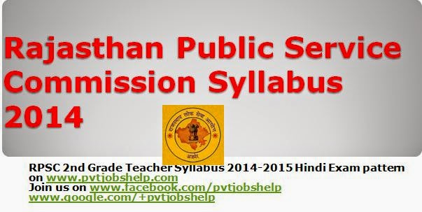 Rajasthan Public Service Commission Syllabus 2016 - 2017-2015 www.rpsc.rajasthan.gov.in