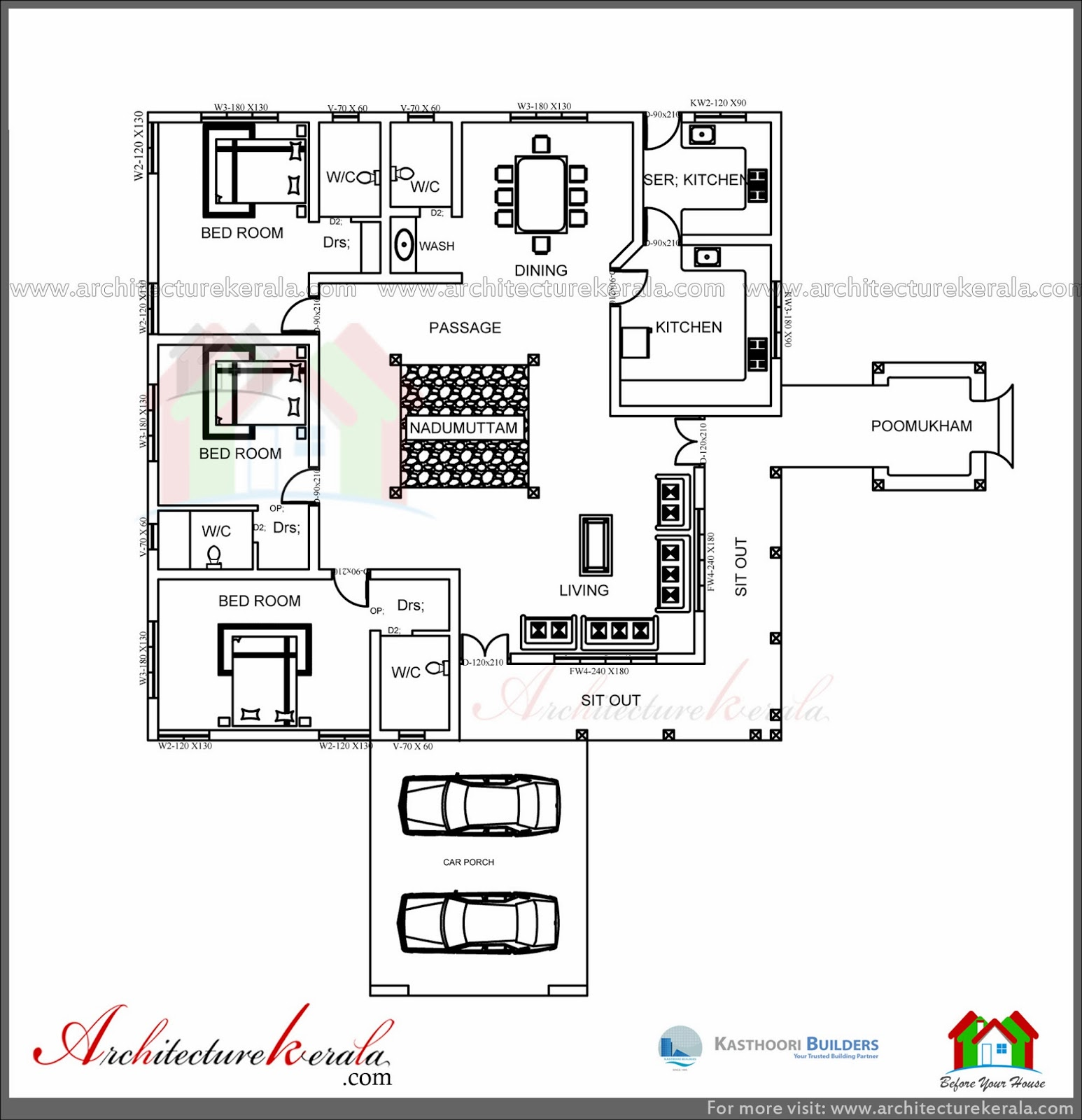 Traditional house plan with nadumuttam and poomukham for 4 bedroom kerala house plans and elevations
