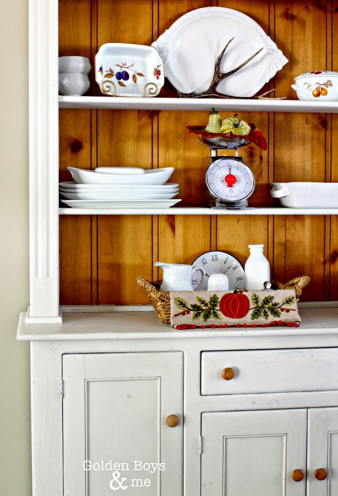 Farm style hutch with fall decor-www.goldenboysandme.com