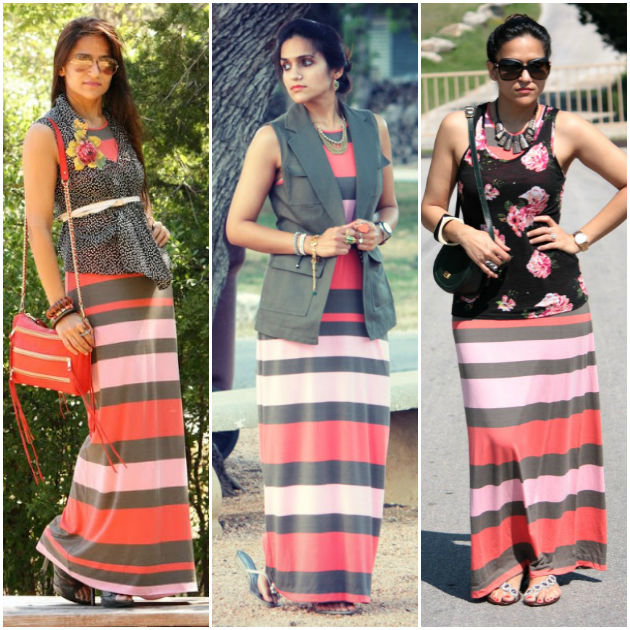Three Ways To Wear Striped Maxi, Tanvii.com