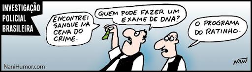 Tiras: Investigação policial brasileira. exame de dna