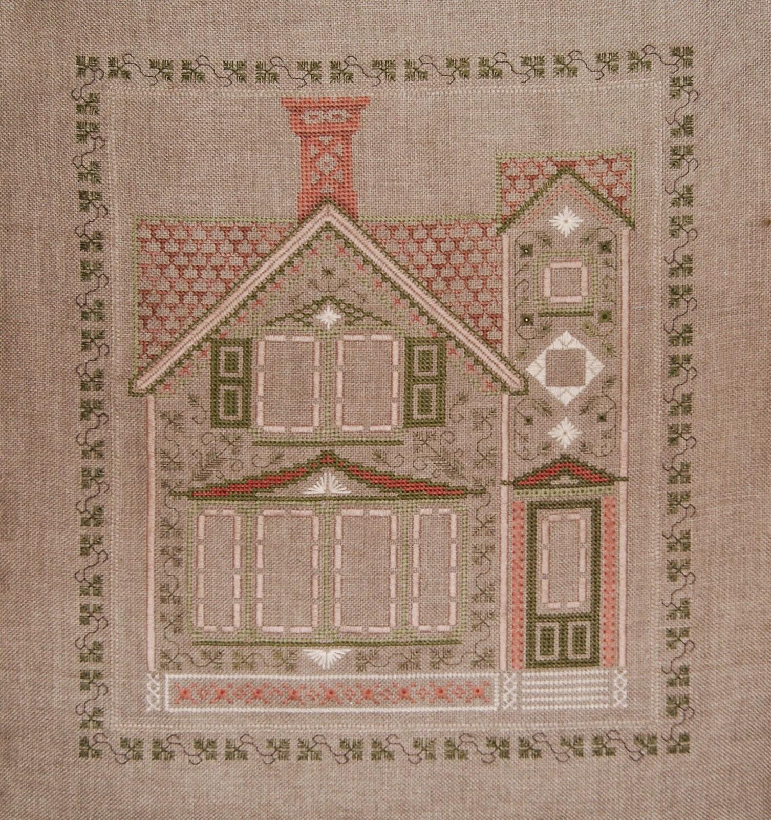 домик, вышивка, вышитый домик, винтажный домик