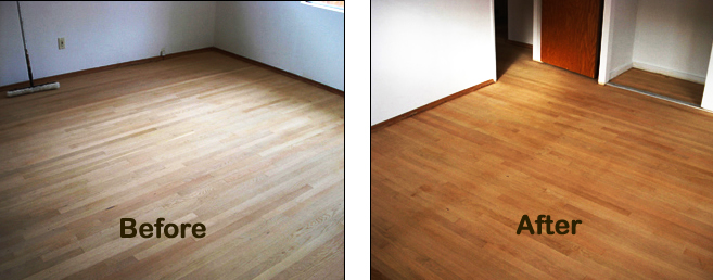 Wood flooring refinished wood floors before after for Before and after flooring