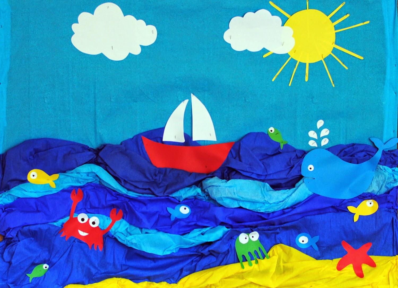 Letnia morska dekoracja szkolnej sali.
