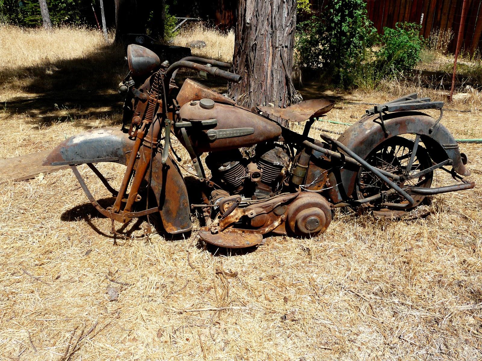 1951 flathead harley motorcyle - rusty yard art