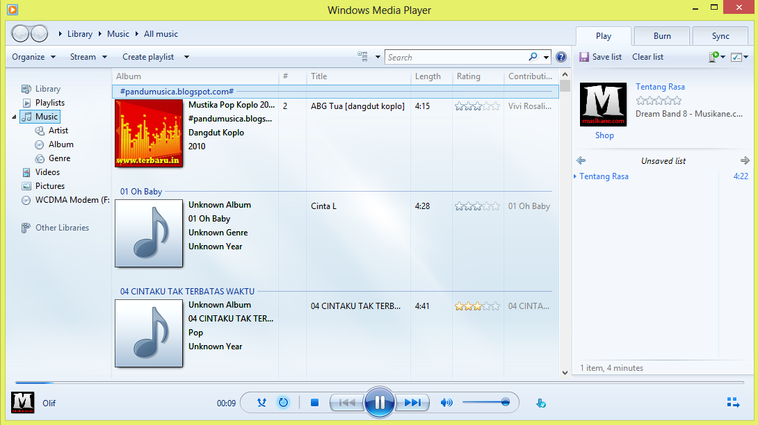 Menampilkan Graphic Equalizer Windows Media Player 1