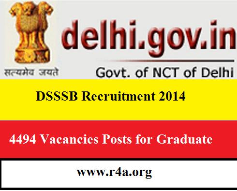 DSSSB Recruitment 2014
