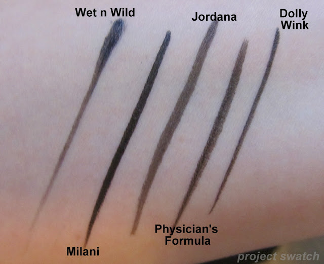 Black Liquid Liner Comparison - WnW, Milani, Jordana, Dolly Wink, PF
